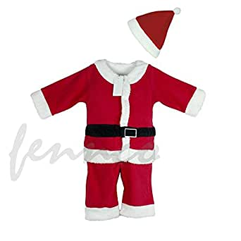 Baby Boys Xmas Santa Claus All-in-one Costume Romper Outfit + Hat, 2-pc