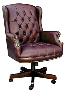 CHAIRMAN Classic Swivel Armchair (faced in soft Burgundy or Green Leather)
