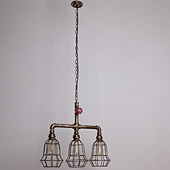 UNITARY BRAND Rustic Copper Metal Cage Shade Water Pipe Chain Pendant Light Max 120W With 3 Lights Painted Finish