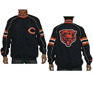 NFL Mens Chicago Bears Athletic Zip-Up Wind Breaker / Jacket with Embroidered Logo - Dark Blue (Size: L)