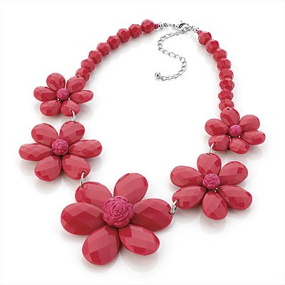 Romantic Floral Acrylic Choker Necklace (Bright Red)