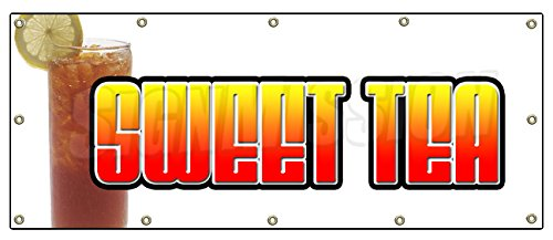 """48""""X120"""" Sweet Tea Banner Sign Ice Iced Drink Cart Stand Signs Southern"""