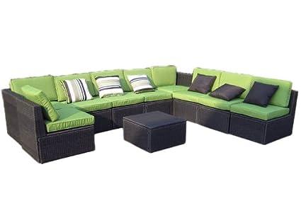 Gartenmöbel 10tlg. Sitzgruppe Poly Rattan Lounge Garten Garnitur grun