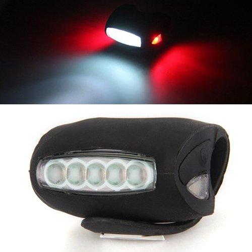 Fanale Faro Luce Anteriore in Silicone LED per Bicicletta Nero