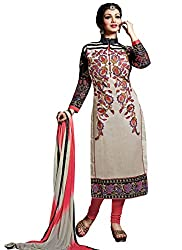 Zbuy Beige Cotton Embroidered Unstitched Salwar Suit Dress Material