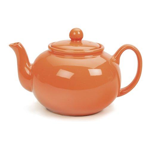 Rsvp Tangerine Orange 6 Cup Stoneware Chai Teapot front-534330