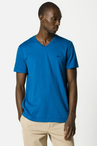 Short Sleeve Garment Dyed V-neck T-shirt
