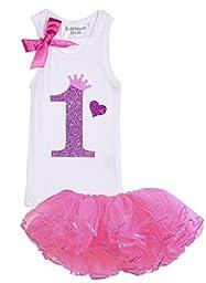 Bubblegum Divas Baby Girls\' 1st Birthday Shirt Princess Tutu Outfit 18 Months