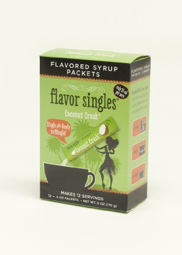 """New, Single And Ready To Mingle-Flavor Singles """"Coconut Crush"""" Flavored Syrup For Your Coffee, Tea, And Other Hot Beverages. Box Of 12 -0.5 Oz Singles"""