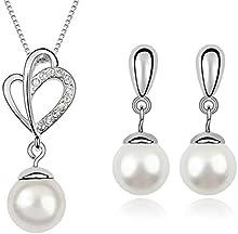 FLORAY Cáscara Perla Colgante Collar y Pendientes Juegos de joyas