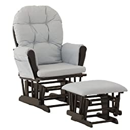 Stork Craft Hoop Glider and Ottoman, Black/Light Denim