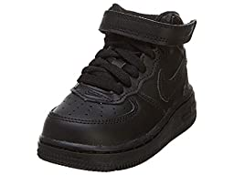 Nike Toddlers Force 1 Mid (TD) Black/Black Basketball Shoe 10 Infants US
