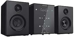 Thomson MIC102B Micro HiFi System mit FM-Tuner, USB, MP3, Bluetooth, Touch-Tasten, Kopfhörer, Fernbedienung, Bass Boost Technologie