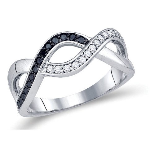 Black and White Diamond Infinity Fashion Ring Band 10K White Gold