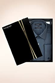 Autograph Pure Cotton Classic Collar Self Striped Shirt [T11-0822B-S]