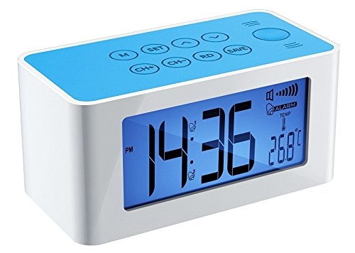 DreamSky® Dual ALarm Clock FM Radio W/ Inductive Wireless SpeakerS ,Blue Backlit ,Auto Time Set, Dual Alarm, Indoor Temperature-Support Iphone 4/4s/5/5s,Iphone6 /6 plus,Samsung S4/S5 ect)