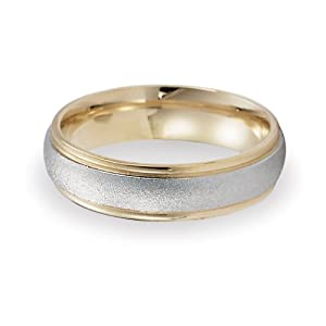 (Lifetime Guarantee) 14k White and Yellow Gold Wedding Band Ring, Comfort Fit Design, 6mm wide Size