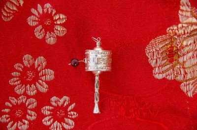 Handmade Silver Prayer Wheel Pendant