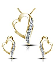 """Vorra Fashion 14k Gold Plated 925 Sterling Silver Round Cut White CZ Lovely Heart Pendant With 18""""Chain & Earring..."""