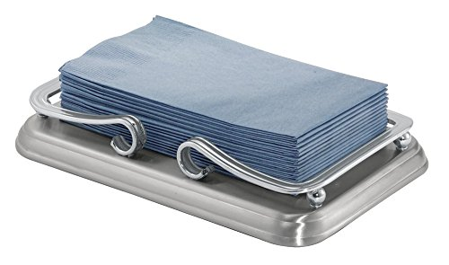 mDesign Guest Towel Holder Tray for Bathroom - Split Finish
