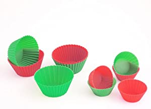 Ready Steady Cook Large Silicone Cake Cases 7cm x 7cm x 3cm, Set of 12, Red and Green