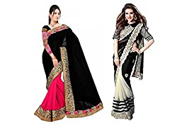 MDS Chiffon Embriodered Combo Saree ( bkingkesar_Black And Black_Freesize )