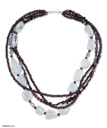 Garnet and quartz strand necklace, 'Romance'