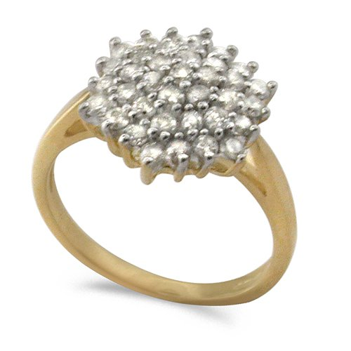 9ct Yellow Gold Classic 1.0ct Diamond Set Diamond Shaped Cluster Ring - Size L