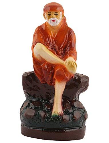 SAI BABA Resin Statue Idol Showpiece Murti For Car Or Home LxHxW(cm) = 4x9x3 Plus Free Five Face Rudraksha ( 1 Piece)