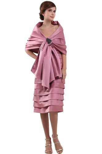 Heyivogue Women Sheath Strapless Empire Tea Length Plus Jacket Prom Dress 3278 16W Pink