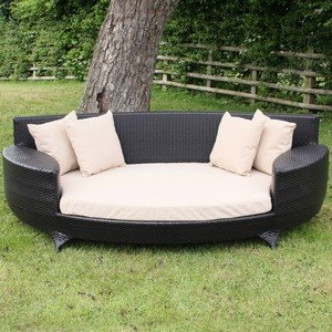 Love Sofa / Day Bed in Black All Weather Garden Furniture