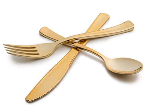 Stock Your Home Gold Disposable Cutlery Combo /75ct. /25ea. Tea Spoons, Forks & Knives
