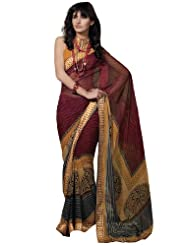Fabdeal Women Indian Designer Printed Saree Maroon (EIB10615ASM)