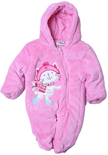 Cone Isle Baby - Baby Girls 0-9M Plush Skater Kitty Snowsuit Pram -Pink0/3 back-998835