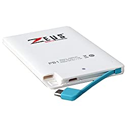 Zeus PB1 2500 mAh powerbank - Credit Card Size Powerbank-White