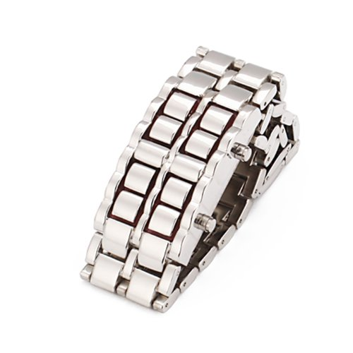Hde Stainless Faceless Mens Watch Chrome Finish Red Led Digital Lava Watch