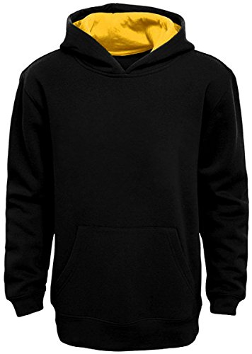 Boy's Pullover Hoodie (Large, Black-Yellow)
