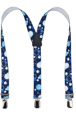 Bretelles pour enfants de haute qualité avec motif bulle et empiècement vrai cuir