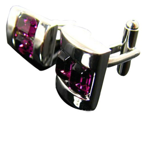 Worldfashion Top Grade Swaro-vski Crystal Men's Cufflinks