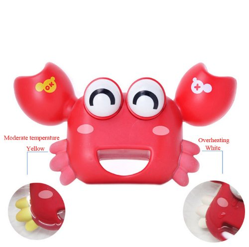 Andget Baby Crab Toy Baby Bath Thermometer Red with Multifunction