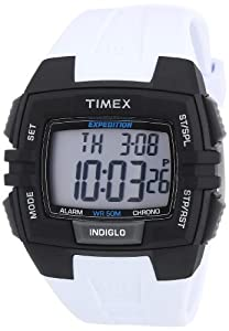 Timex Men's T49901 Expedition Rugged Wide Digital Chrono Alarm Timer White Case Black Resin Strap Watch