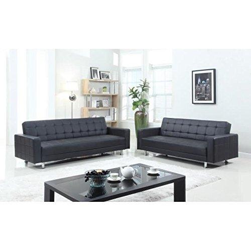 LUXURY - Juego de sofás convertibles, 2+3 plazas, 180x84x81cm, 220x190x81cm, piel sintética y PVC, color negro
