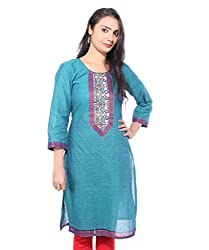 Lal Chhadi Women's south cotton 3/4 Sleeve Kurta with combination of Blue and Pink