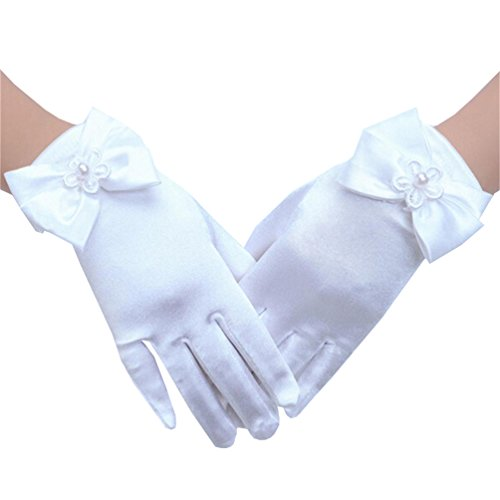 Lymanchi Kid Girls' Wedding Gloves Pageant Flower Girl Gloves 4-14Years White M
