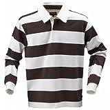 (ハーヴェスト) Harvest メンズ 長袖ポロシャツ カジュアルトップス 長袖ラガーシャツ カットソー 男性用 (XS) (ブラウン/ホワイト)