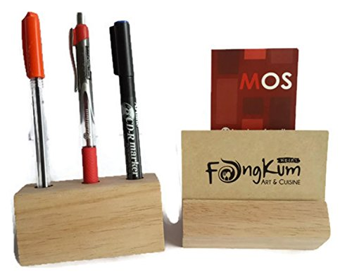 Set of Premium Wood Card Holder and Wood Pen holder (2 pcs) - 9 x 4.5 x 4.5 cm each (Haan Hangers compare prices)