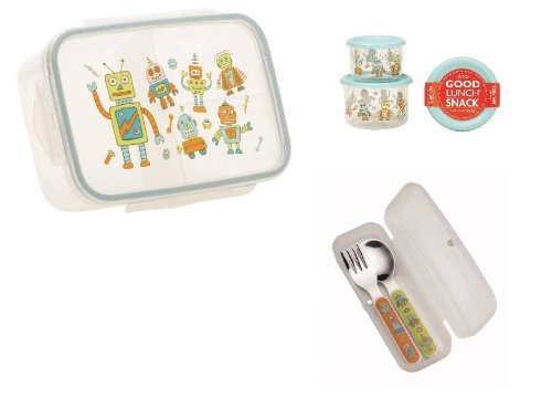 Sugarbooger Divided Lunch Box, (2) Small Storage Containers, and Silverware- Retro Robot - 1