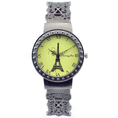 Sinceda Fashion Lady Girl Bracelet Quartz Movement Eiffel Tower Dial Gun Color Bangle Wrist Watch
