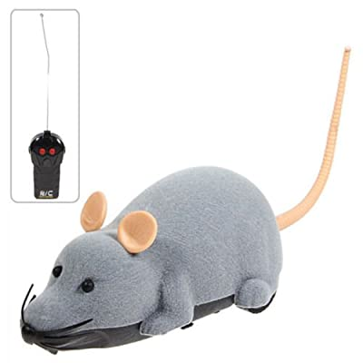 Electronic Remote Control Mouse Toy for Trick/Playing with Cat Gray