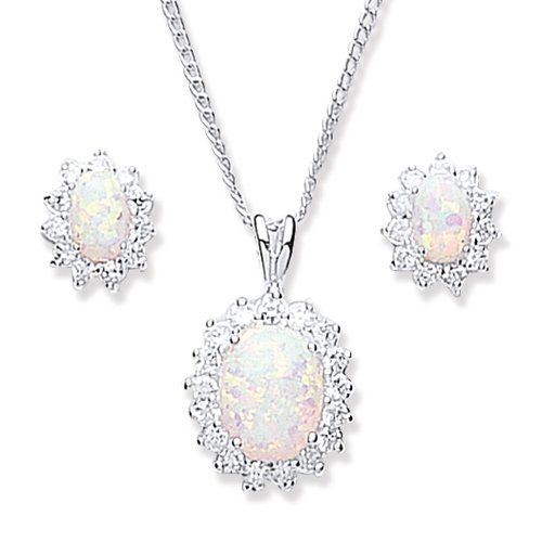 Chic Silver Synthetic Opal/Cubic Zirconia Cluster Pendant and Earring Set with 46cm Chain